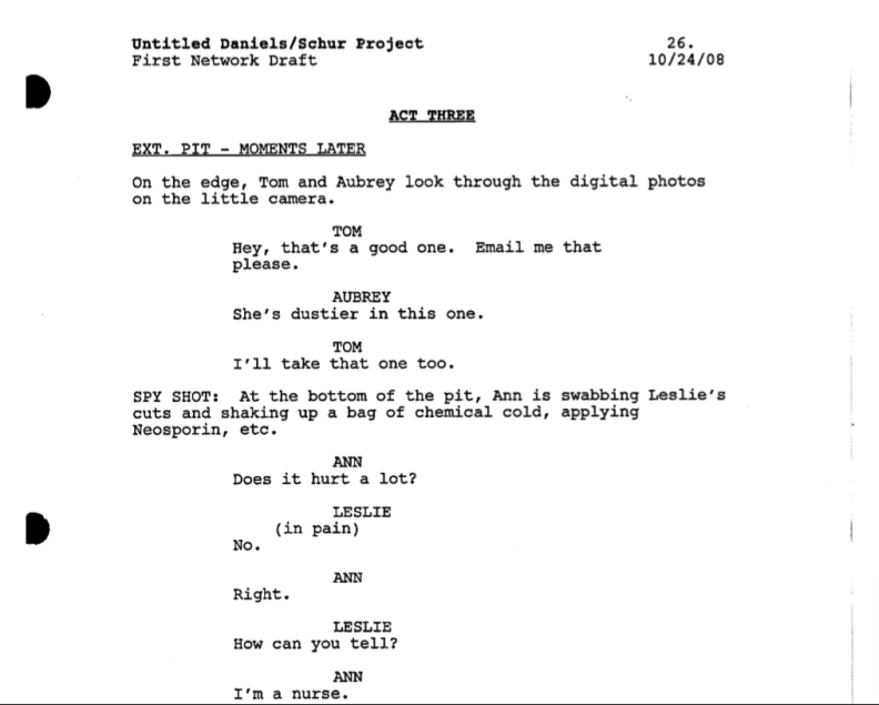 parks n recreation tv script sample