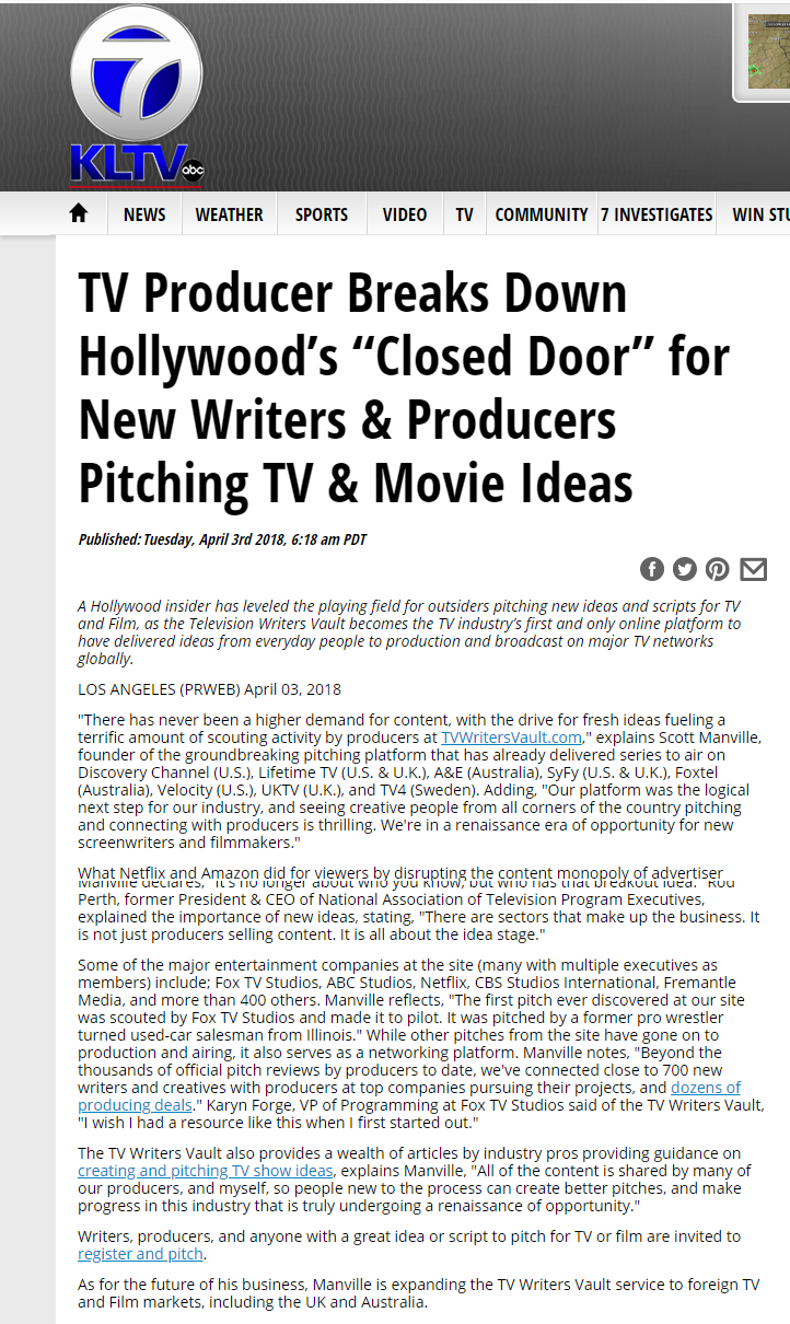 tv writers vault in the news - tv producer breaks down hollywoods