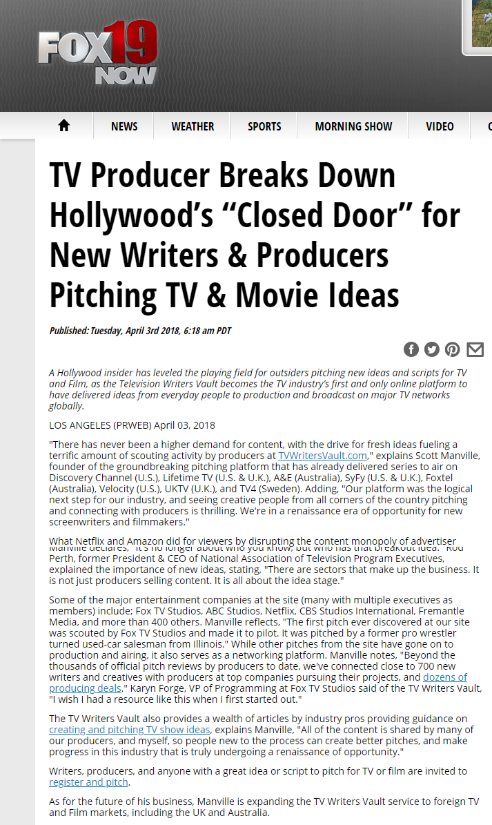 TV Writers Vault In The News - TV Producer Breaks Down